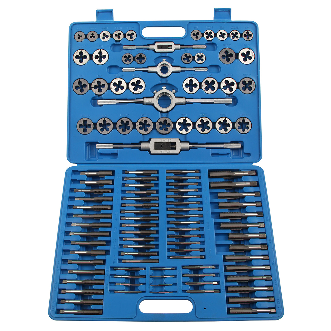110pcs Tungsten Wrench Tap and Die Set Cutter Kit Metric Steel Screw Bolt Case Red 20pcs m3 m12 screw thread metric plugs taps tap wrench die wrench set
