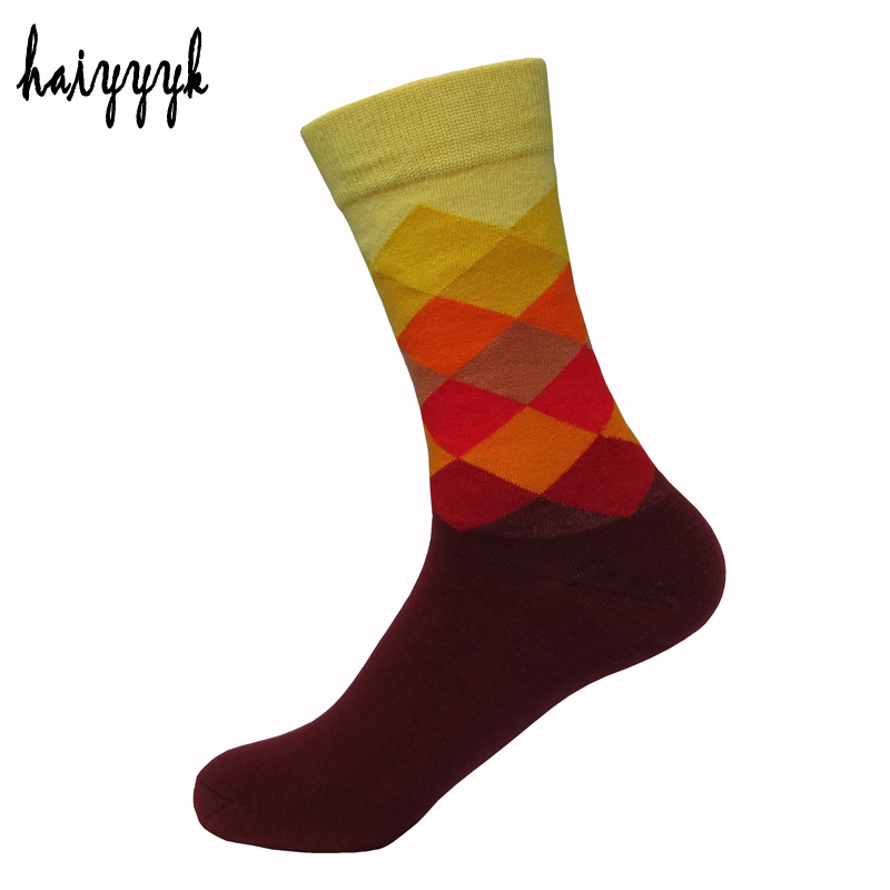 2017 New Mens Colorful Dress Socks Argyle Combed Cotton Sock Breathable Sweat Personalized Style Crew Socks Size 6-10 wz21882