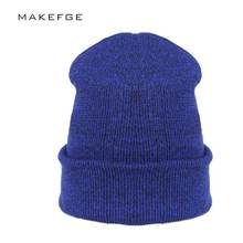 39978966419 2018 Autumn Woman Wool Knit Beanie Hat Cuff Beanie Watch Cap Spring Skull  hats for women Man touca inverno Hip hop turban hat