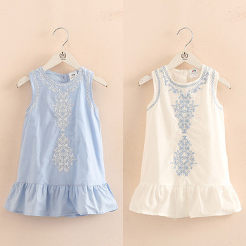 2018 Hot Summer 2-10 Years Old Brief Kids Lace Embroidery Flower Floral Sleeveless Flounce Vest Tank Sundress Girls Dress Cotton layered flounce trim dress