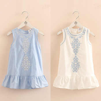 2018 Hot Summer 2-10 Years Old Brief Kids Lace Embroidery Flower Floral Sleeveless Flounce Vest Tank Sundress Girls Dress Cotton - DISCOUNT ITEM  29 OFF Mother & Kids