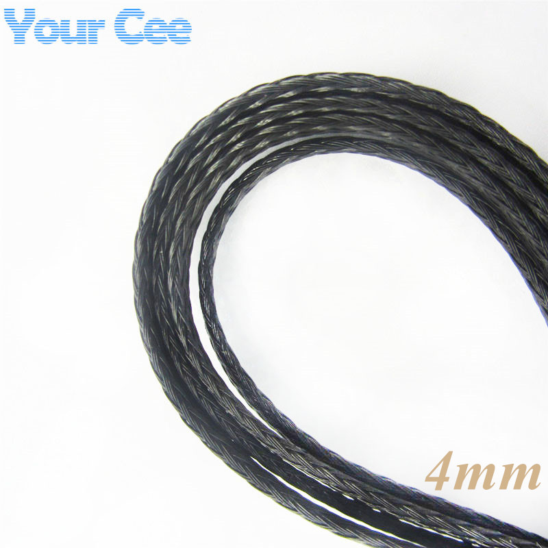 1M 4mm Shielding Sheathing Auto Wire Harnessing Black Nylon Braided Cable Sleeving