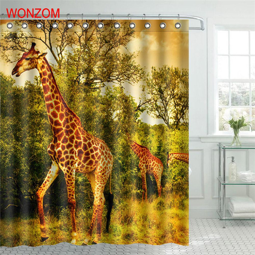 WONZOM Giraffe Shower Curtains Bathroom With 12 Hooks Waterproof Accessories For Decor Modern Animal Bath Curtain Gift in Shower Curtains from Home Garden