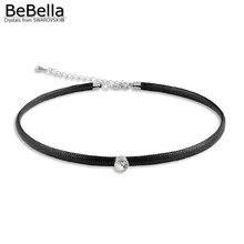 BeBella Rivoli колье, черная цепочка, колье с австрийскими кристаллами, элементы Swarovski, без аллергии, женский подарок