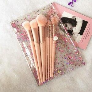 Image 4 - Juego de brochas de maquillaje con mango de oro rosa, 7 Uds. De brochas de maquillaje, polvo de base, colorete, sombra de ojos, labios, belleza facial