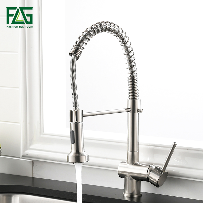 FLG Kitchen Faucet Single Handle Pull Down Swivel Mixer Tap Nickel Brushed Hot And Cold Water Kitchen Sink Faucet 999-33N yanjun us kitchen faucet brushed pull down single handle basin sink deck mounted swivel mixer cold and hot water tap yj 6654