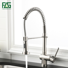 FLG Kitchen Faucet Single Handle Pull Down Swivel Mixer Tap Nickel Brushed Hot And Cold Water Sink 999-33N