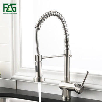 FLG Kitchen Faucet Single Handle Pull Down Swivel Mixer Tap Nickel Brushed Hot And Cold Water Kitchen Sink Faucet 999-33N nickel brushed pull out kitchen faucet sink mixer tap single handle hole deck mounted hot and cold water