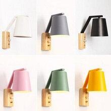 Nordic kreatywny przy łóżku lampa z przełącznikiem osobowości drewna + kutego żelaza kinkiet sypialnia badania Macaron E27 żarówka LED kinkiety