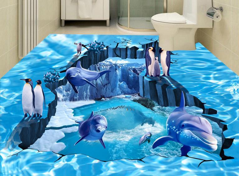 Personalizzato 3d piastrelle carta da parati impermeabile per bagno