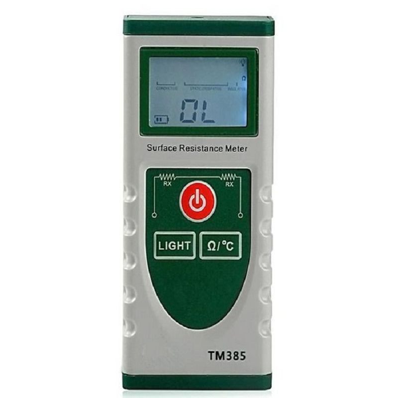 Hot Professional Handheld TM385 Digital Surface Resistance Tester Electrostatic Portable Temperature High precision LCD Meter