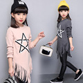 5 6 7 8 9 10 11 12 13 Years Girl Shirt Spring Big Sister Clothes Tassels Girls Tees 2017 Long Sleeve Shirt For Girls Teens Tops