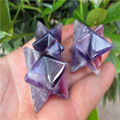 Natural Natural amethyst original stone large satellite three-dimensional pendant open merkaba rose series