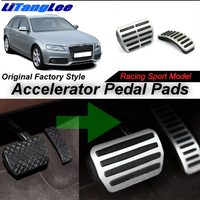 LitangLee Car Accelerator Pedal Pad Cover Sport Racing Design For Audi A4 B8 8K 2008~2016 AT AT Foot Throttle Pedal Cover