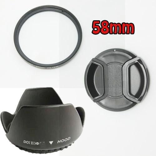 100% GUARANTEE 1 pcs 58MM Lens Hood + Cap + UV Filter for Nikon D5200 D5100 D3200 D3100 D3000 for Nikon AF-S 55-300mm 50mm макрокольца для nikon d3100 в иваново