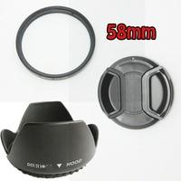 100% GUARANTEE 1 pcs 58MM Lens Hood + Cap + UV Filter for Nikon D5200 D5100 D3200 D3100 D3000 for Nikon AF S 55 300mm 50mm