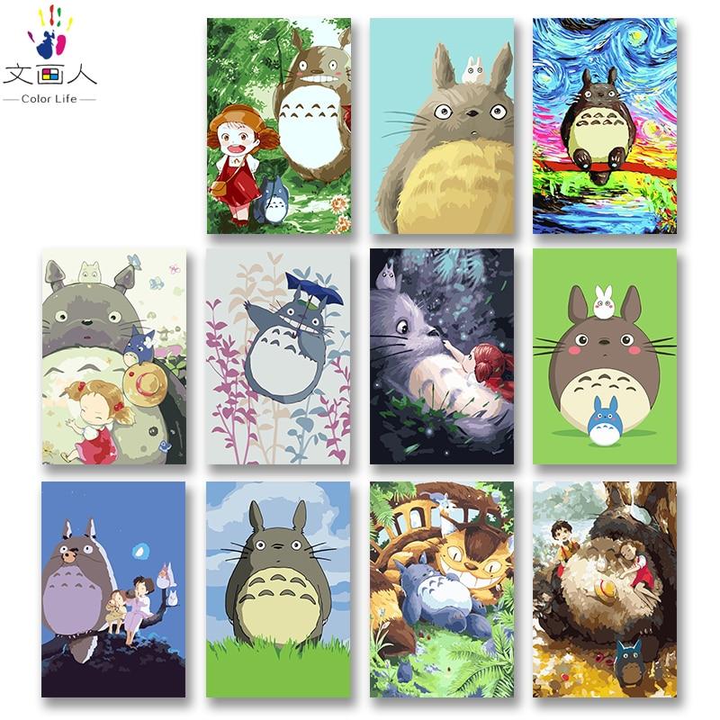 DIY красителей фотографии по номерам с цветами Тоторо Хаяо Миядзаки аниме картинка Рисунок Живопись по номерам каркасный дом