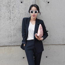 Set female 2018 spring new temperament fashion small suit long-sleeved striped clothes + was thin leisure trousers two sets
