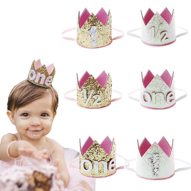 1 2 1 Year Old Glitter Birthday Headband Boy Gold Pink First Birthday Hat  Girl White 8952020d9d3