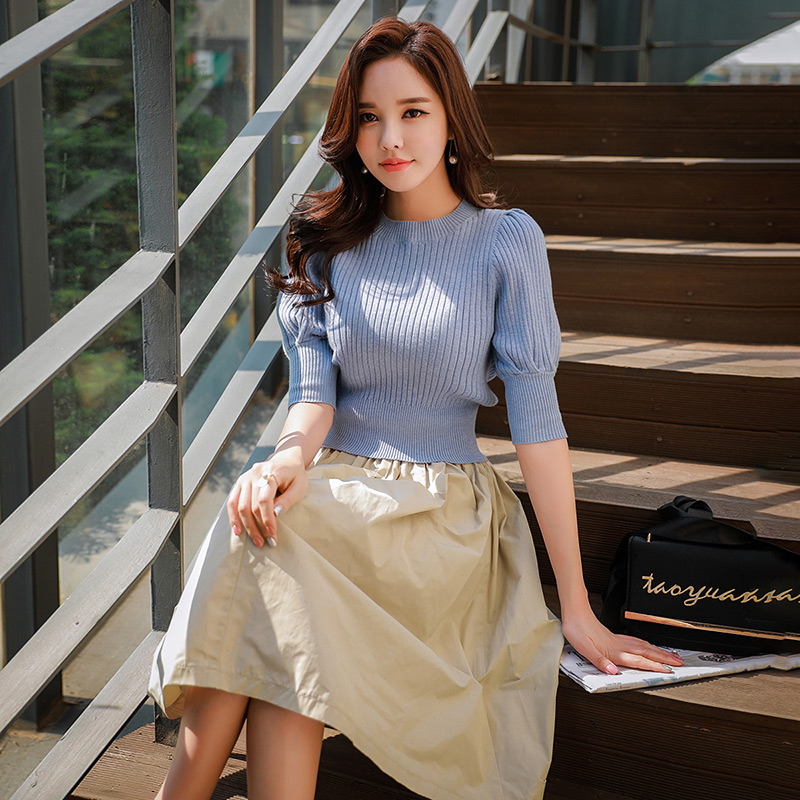Dabuwawa Autumn Sweaters Women 2018 New Blue Half Puff Sleeve Knitted Pullovers Sweater Korean Solid Office lady Casual Crop Top