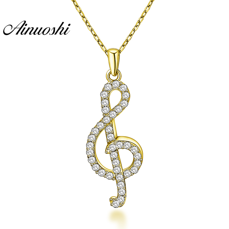 AINUOSHI 10K Solid Yellow Gold Pendant Melody Pendant SONA Diamond Women Men Gold Jewelry Musical Note Design Separate Pendant pair of stylish solid color musical note shape alloy cufflinks for men