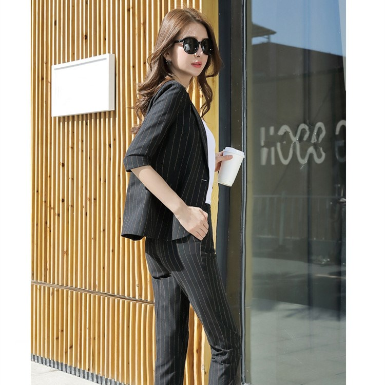 Women Blazer And High Waist Pencil Pants Pant Suits Elegant Long Sleeve Striped Pantsuits Notched Casual Office Outfits