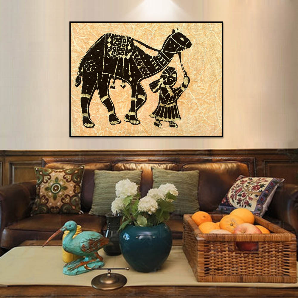 Unframed Canvas Prints Oil Painting Child Holding A Camel Prints Wall Pictures For Living Room Wall Art Decoration Dropshipping