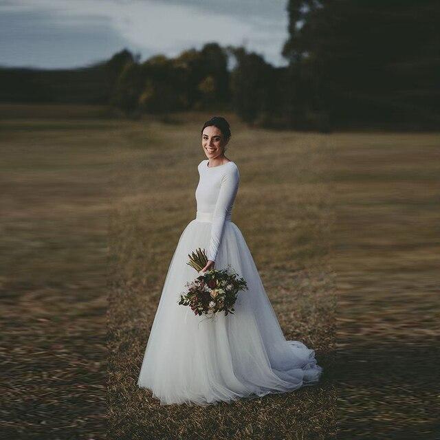 feda6f22a € 32.7 7% de DESCUENTO|Por encargo de novia Faldas mujeres amplia cintura  una línea piso longitud Maxi falda tutú blanco en Faldas de La ropa de ...