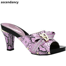 82f66fc4e566ee Latest Italian Lady Sexy High Heels Pumps Decorated with Rhinestones Italian  Design African Sandals Shoes for