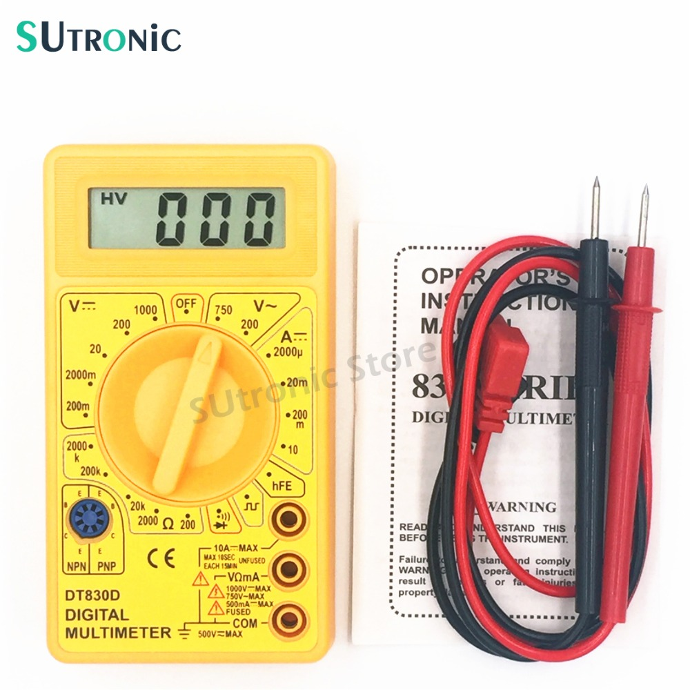 DT-830D Mini Digital Multimeter Buzzer Overload protection Square Wave Output Voltage Ampere Ohm Meter Probe DC AC LCD Yellow цены