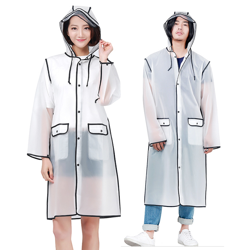 Yuding New Fashion Raincoat Women Outdoors Transparent EVA Girls Rain Coat Travel Waterproof Rainwear Unisex Poncho with Pocket in Raincoats from Home Garden