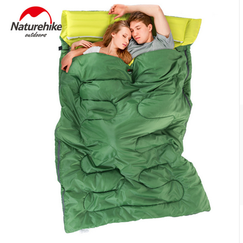 все цены на Double Sleeping Bag Spring and Autumn Camping Hiking Cotton Sleeping Bags with Pillow