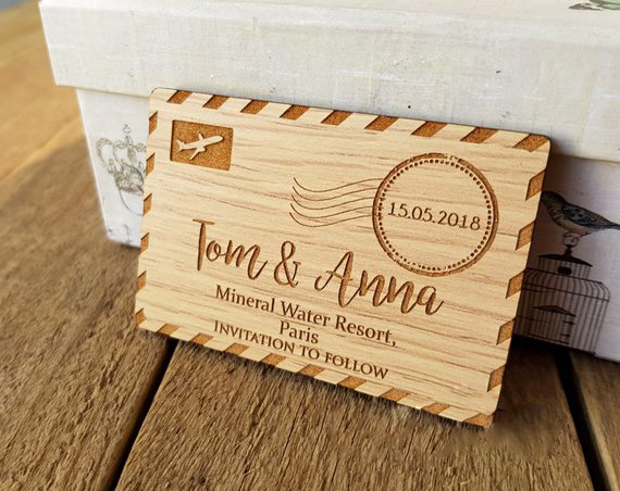 Custom Wedding Airmail Wood Magnet Save