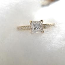 1 Carat Elegant DEF Color Princess Halo Engagement Wedding Moissanite Diamond Ring For Women Real 14k 585 Yellow Gold