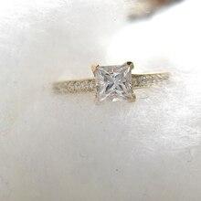 1 قيراط أنيق DEF اللون الأميرة هالو المشاركة الزفاف مويسانيت خاتم الماس للنساء ريال 14k 585 الذهب الأصفر