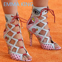 New Design Cartoon Eyes Gladiator Sandals 2019 Women Summer Ankle Boots Peep Toe Hollow Sexy High Heels Shoes Woman Pink Sandals
