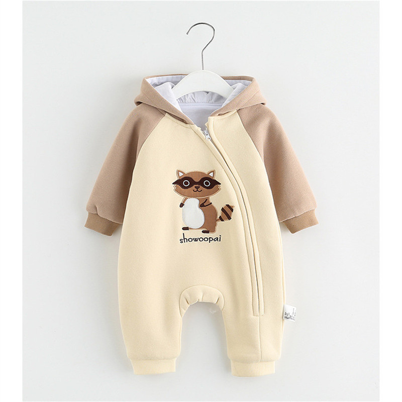 Baby Rompers Winter Jumpsuit Little Squirrel Animal Zipper Newborn Baby Boy Girl Clothes Body Bebe Clothing Hooded Rompers baby products bebe girl bebe boy newborn clothes baby costume thick warm infant baby rompers kids winter clothes jumpsuit hooded