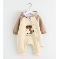 Baby Rompers Winter Jumpsuit Little Squirrel Animal Zipper Newborn Baby Boy Girl Clothes Body Bebe Clothing Hooded Rompers