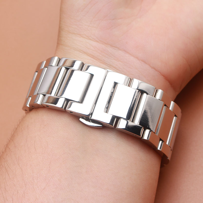 Stainless Steel Watchband Bracelet 18mm 20mm 22mm 24mm Butterfly Buckle Straps Silver stainless steel watch bands promotion new цена и фото