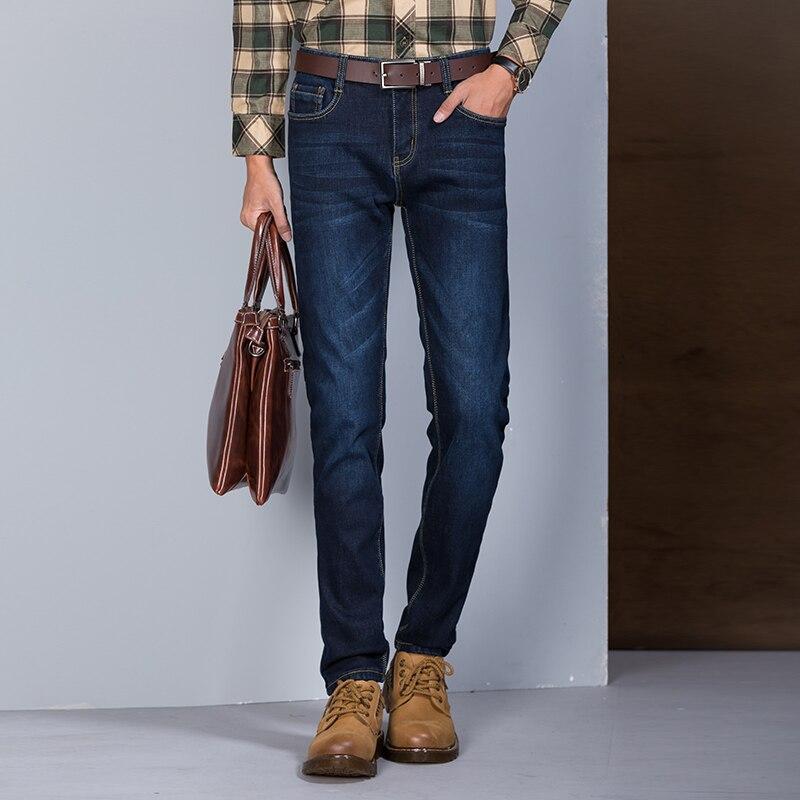 Brand Clothing Men s Winter Plus Thick Velvet Jeans Stretch Slim Homme Trousers Male Warm Denim