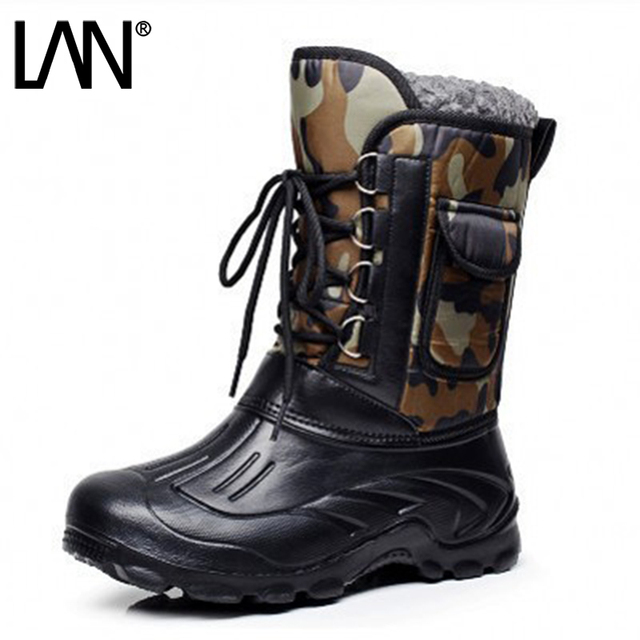 Men's Side Zip Winter Fur Lined Mid Calf Boots Lace Up Retro Snow Shoes