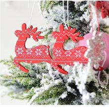 Christmas Tree hanging Angel Snow Bell Elk Star Hanging Pendants Ornament Wooden Decorations for Home party 12pcs/set
