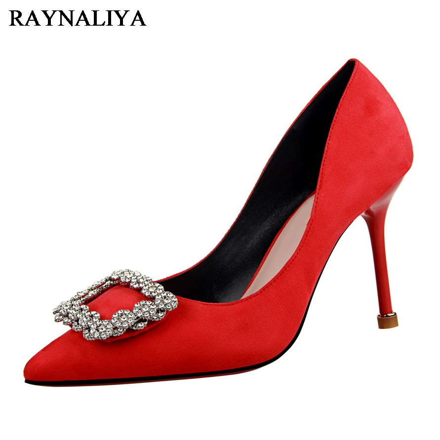 Women Shoes Thin Heel Sexy Pointed Toe Pumps Classic Buckle Rhinestone Wedding Shoes Bridal Flock Pumps Party BT-B0009 fashion women wedding shoes rhinestone square buckle 90mm middle stiletto heels low cut vamp pointed toe jeweled bridal shoes