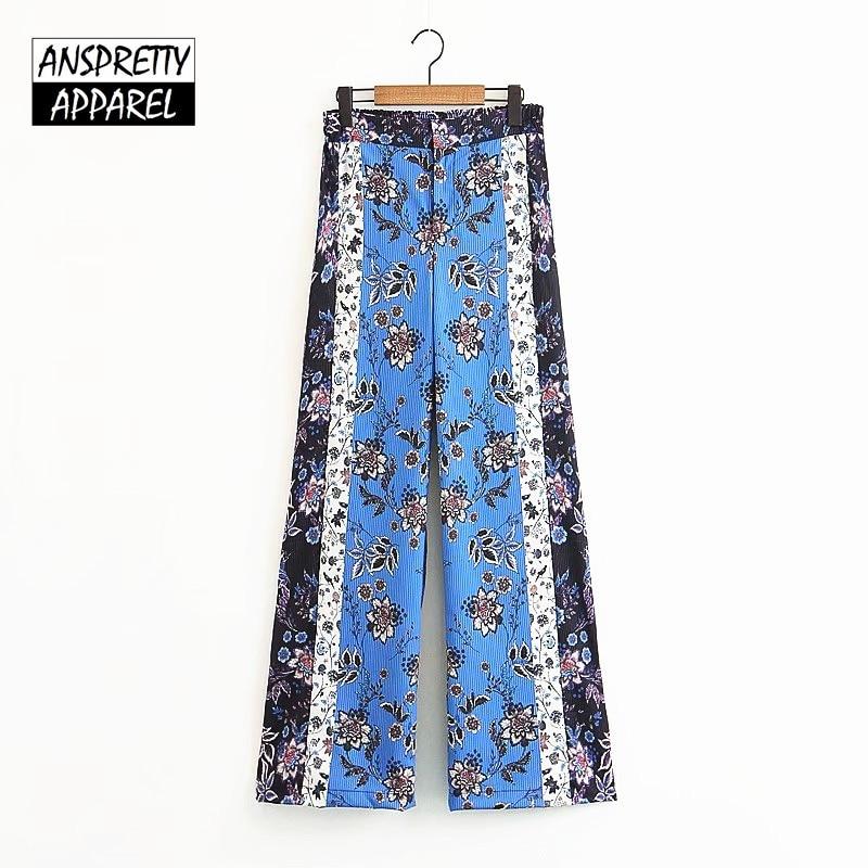 b1e2d2a622e3 2019 Anspretty Apparel Bohemian Wide Leg Pants Women Floral Summer ...