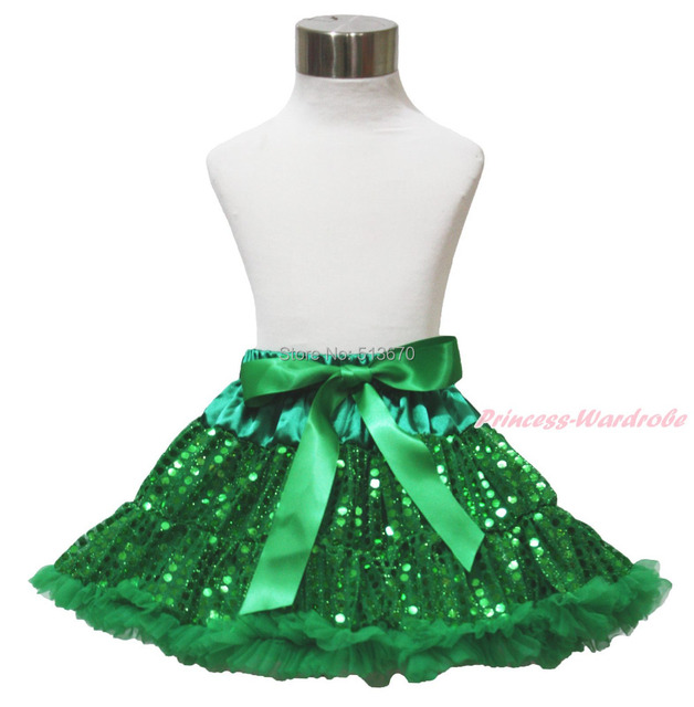 St Patrick's Day Green Sparkle Bling Sequins Baby Girl Pettiskirt Tutu 1-8Year MADRE0030