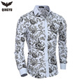 2016 New Men printing Shirts Fashion Casual Slim Fit Camisas Business Dress Floral Print Homme Shirts Camisas Hombre Vestir XXL