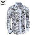 2016 Nuevos Hombres de Camisas de impresión de Moda Casual Slim Fit Camisas de Vestir de Negocios Floral Print Homme Camisas Hombre Vestir XXL
