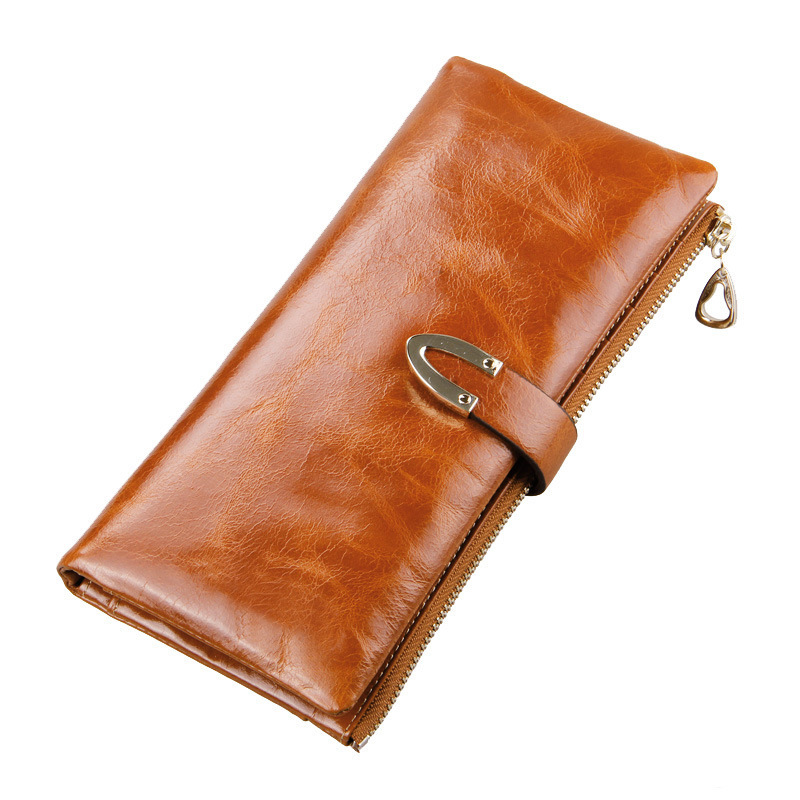 100% Genuine Leather Wallet Zipper Long Women Portfolio Lady Purse Fashion Clutch Women Wallet Holder Card Holder Coin Pocket