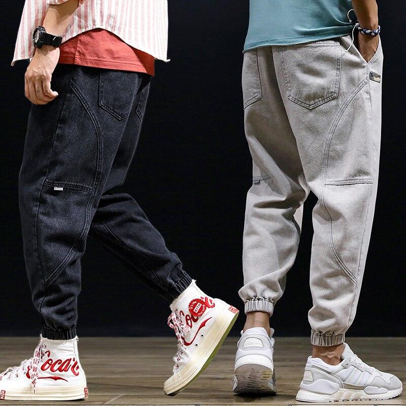 Fashion Streetwear Men Jeans Loose Fit Spliced Designer Denim Cargo Pants Harem Trousers Hip Hop Slack Bottom Joggers Jeans Men
