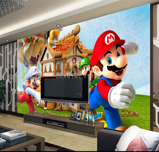 Custom children wallpaper, 3D Mario mural for the children's room living room bedroom TV backdrop waterproof papel de parede custom children wallpaper multicolored crayons 3d cartoon mural for living room bedroom hotel backdrop vinyl papel de parede